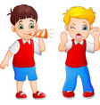cartoon boy blowing at the little boy in a trumpet vector image vector image