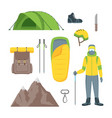 cartoon color climbing hiking icon set vector image vector image