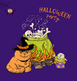 cartoon cute cat character in a witch s hat vector image