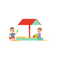 cartoon kids characters playing in wooden sandbox vector image