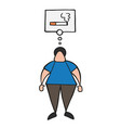 cartoon man standing and thinking smoking vector image vector image