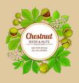 chestnut branches frame on color background vector image