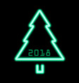 christmas tree green neon sign 2018 vector image vector image