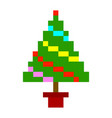 christmas tree pixel art cartoon retro game style vector image vector image