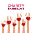 colorful set hands with heart in palms charity vector image vector image