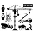 construction scaffolding tower crane mixer truck vector image