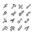 construction tools icons set with shadow vector image
