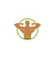 creative bodybuilder silhouette circle logo vector image