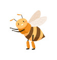 cute happy honey bee dancing and pointing at smth vector image