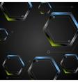 Dark green blue geometric hexagons background vector image vector image