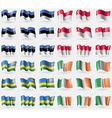 Estonia Singapore Rwanda Ireland Set of 36 flags vector image vector image