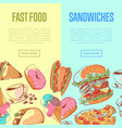 fast food flyers with takeaway menu vector image