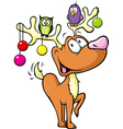 Funny reindeer with christmas balls and birds vector image vector image