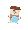 Funny sleepy paper coffee cup character with a vector image