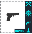 gun icon flat vector image vector image