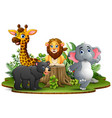 happy animals cartoon in the park with green plant vector image