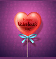 heart lollipop with bow vector image vector image