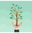 Helping Hand Money Tree Financial Growth Flat vector image vector image