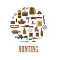 hunting equipment and hunter accessories vector image vector image