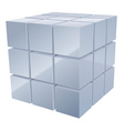 illustrarion of 3d metal cubes in silver vector image vector image
