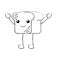 kawaii bread leaf bakery character vector image vector image