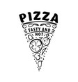 logo of a sketched pizza on vector image vector image