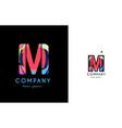 m blue red letter alphabet logo icon design vector image