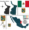 Map of Tamaulipas vector image vector image