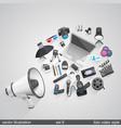 megaphone foto video style set 6 vector image