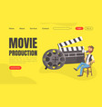 movie production landing page template vector image vector image