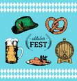 oktoberfest symbols collection for beer festival vector image