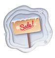 paper cut style of sale signboard vector image vector image