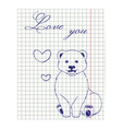 paper sheet with ink drawing bear vector image