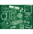 Pc components and peripheral devices sketches vector image