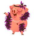pink pig in boa necklet sings karaoke vector image