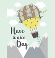 poster with a hot air balloon flying vector image vector image