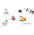 realistic tea party elements template vector image