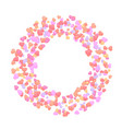 romantic round wreath made of little heart shapes vector image