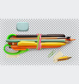 school supplies pen pencil brush scissors 3d icon vector image