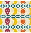 Seamless pattern moon skulls and the sun vector image