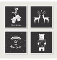 set vintage greeting cards for christmas black vector image vector image