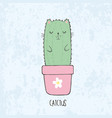 sketch cute kawaii cat cactus vector image vector image