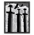 sverd i fjell - viking swords monument symbol of vector image