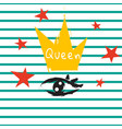 t shirt queen crown and eye striped print design vector image vector image