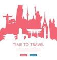 Time to travel concept with cityscape silhouettes vector image