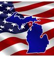 united states michigan dark blue silhouette vector image vector image