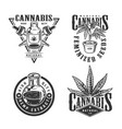 vintage monochrome cannabis labels set vector image