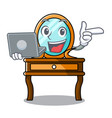 with laptop dressing table character cartoon vector image