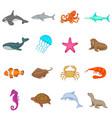 ocean inhabitants icons set cartoon style vector image