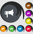 megaphone icon sign Symbols on eight colored vector image